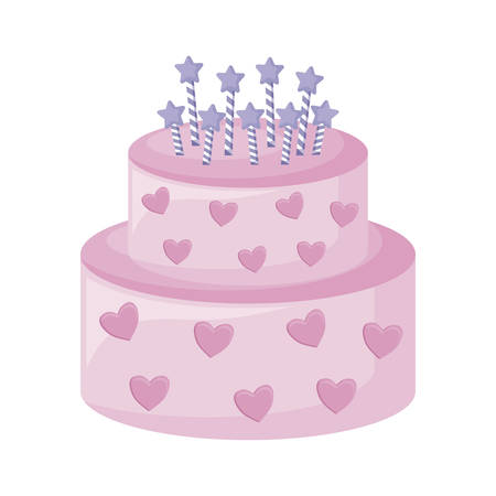 sweet cake with candles isolated icon vector illustration design Illustration