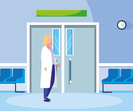 female medicine worker in the operating room entrance vector illustration design 일러스트