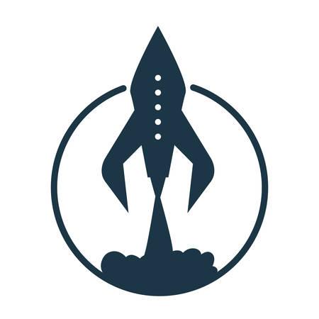 launching rocket spaceship travel explorer vector illustration