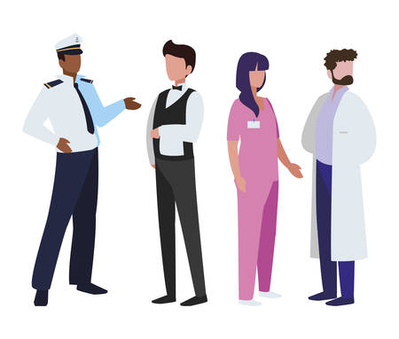 group of professional workers characters vector illustration design