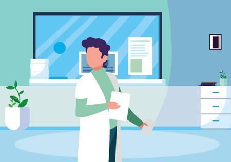 male medicine worker with uniform in clinic reception vector illustration design Иллюстрация