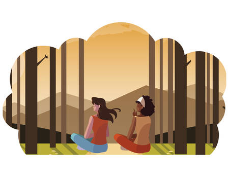 women couple contemplating horizon in the forest scene vector illustration design