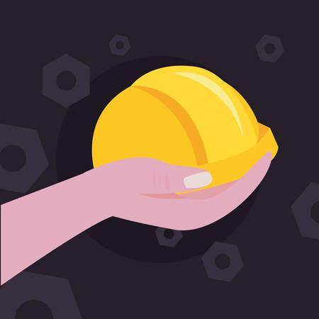 hand with helmet construction tools vector illustration design  イラスト・ベクター素材