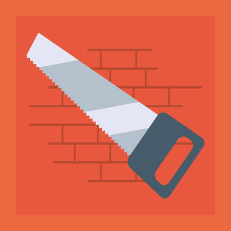 saw icon tool wall brick vector illustration design