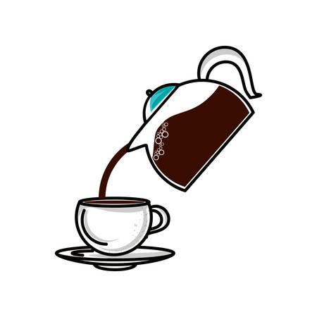 teapot kitchen with cup coffee vector illustration design Ilustração