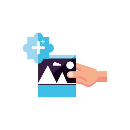 picture file with hand and pluss symbol vector illustration design
