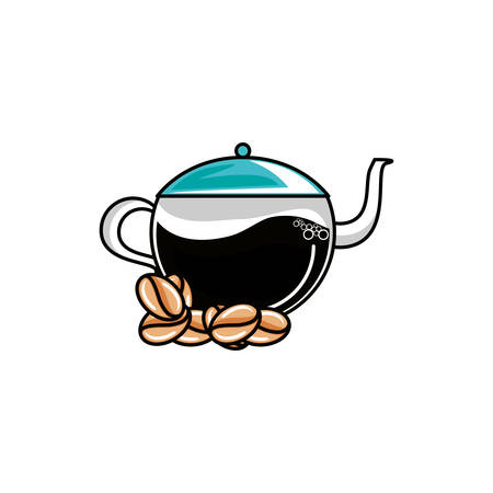 teapot kitchen with grains coffee vector illustration design