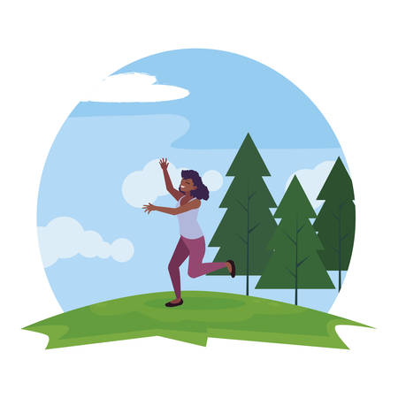 happy afro young woman celebrating in the park vector illustration design Ilustração