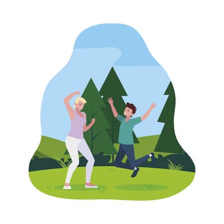 happy young couple celebrating in the camp vector illustration design Ilustração