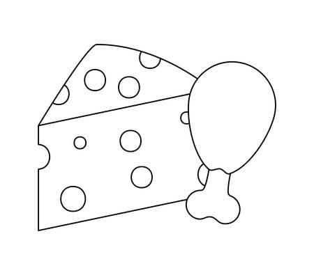 chicken leg with cheese isolated icon vector illustration design Ilustração