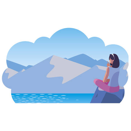 woman contemplating horizon in lake and mountains scene vector illustration