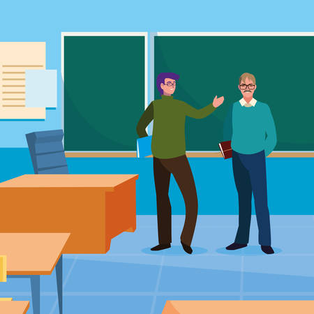 teachers couple in the classroom characters vector illustration design