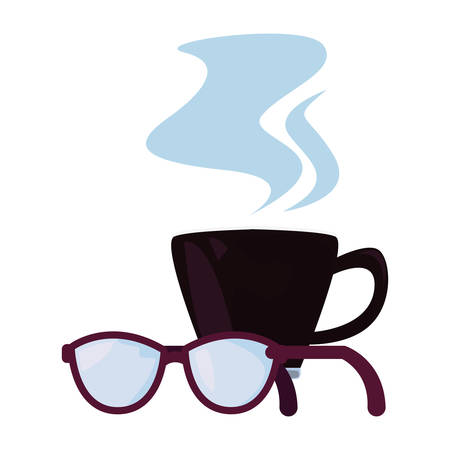 coffee cup eyeglasses happy fathers day vector illustration