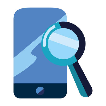 cellphone magnifying glass analysis vector illustration design