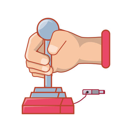 hand with joystick for video game vector illustration design