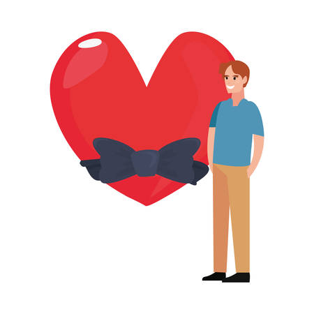 dad and love heart bow happy fathers day vector illustration Ilustração