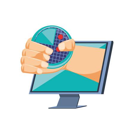 hand with radar in monitor computer vector illustration design
