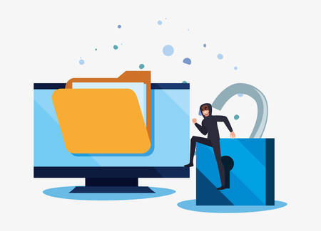 hacker man computer files padlock crime cybersecurity data protection vector illustration