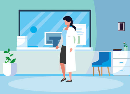 female medicine worker in clinic reception vector illustration design Иллюстрация