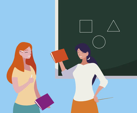 female teachers couple with textbooks and chalkboard vector illustration design Illustration