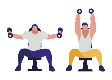 athletic men weight lifting in the gym vector illustration design