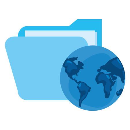 world folder cybersecurity data protection vector illustration