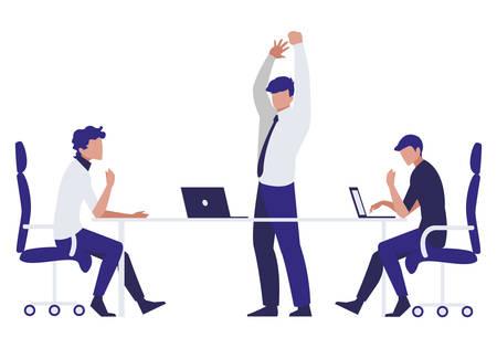 groep zakenlieden in het vectorillustratieontwerp van de bureauscène