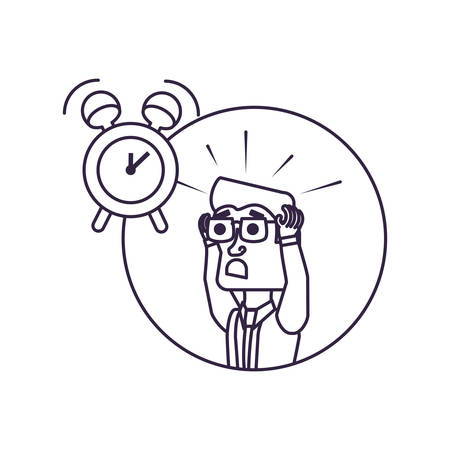 businessman stressed in frame circular with alarm clock vector illustration design Иллюстрация