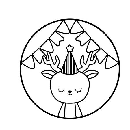 cute reindeer with hat party in frame circular vector illustration design  イラスト・ベクター素材
