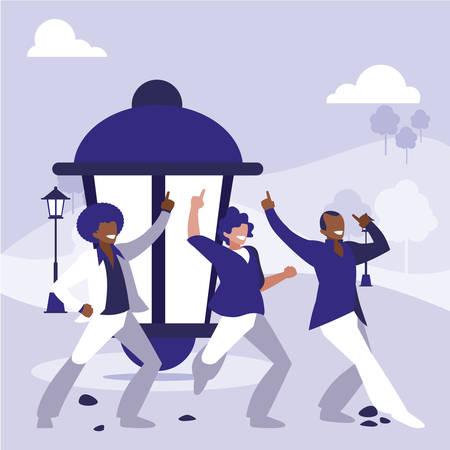 interracial dancers group dancing in the park vector illustration design