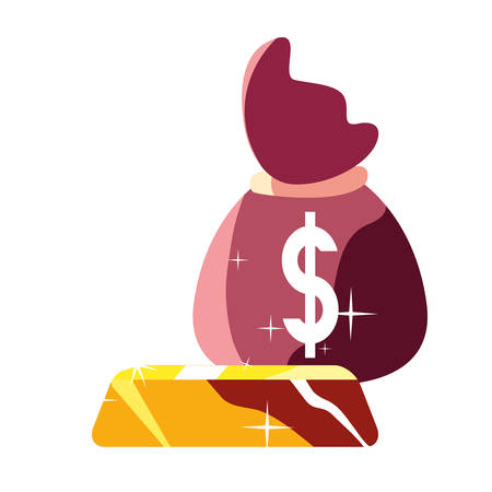money bag gold bar on white background vector illustration Çizim