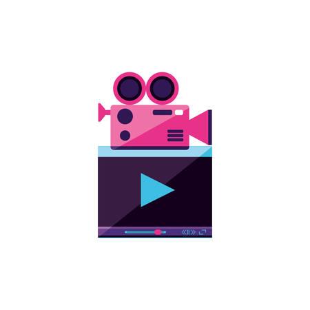 video media player template with camera vector illustration design Stock Illustratie