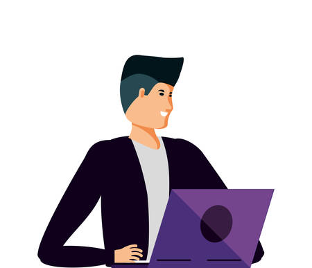 young man using laptop computer vector illustration design Illusztráció