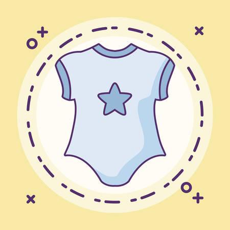 clothes baby boy in frame circular vector illustration design