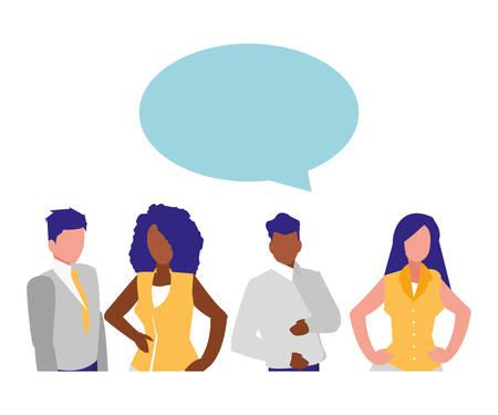 avatar business people icon over white background, vector illustration Çizim