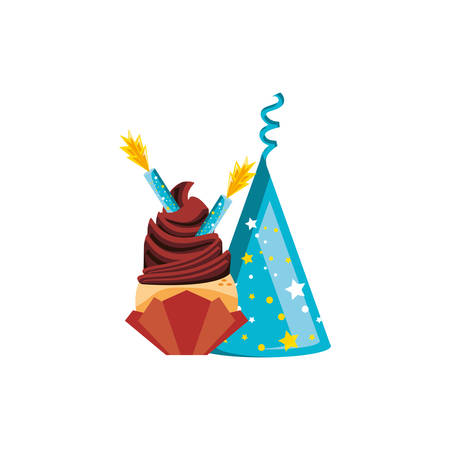 cupcake of birthday with candles and hat party vector illustration design  イラスト・ベクター素材