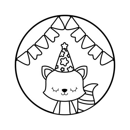 cute raccoon with hat party in frame circular vector illustration design  イラスト・ベクター素材