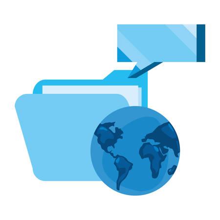 world folder speech bubble cybersecurity data protection vector illustration