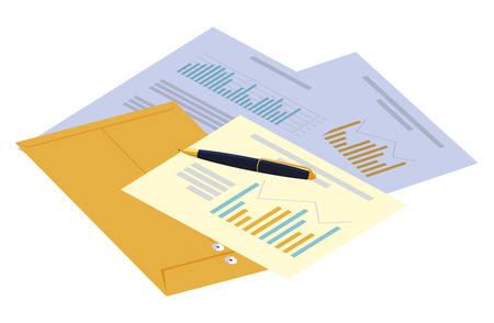 manila envelope with office set icons vector illustration design Иллюстрация