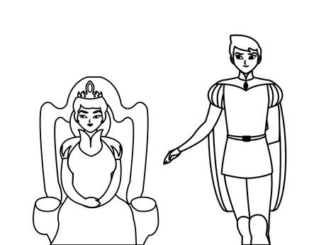 prince charming with queen on throne characters vector illustration design