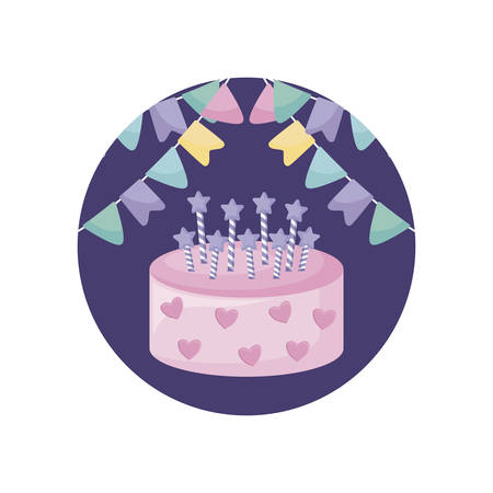 sweet cake with candles in frame circular vector illustration design  イラスト・ベクター素材