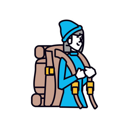 traveler woman with travel bag avatar character vector illustration design  イラスト・ベクター素材