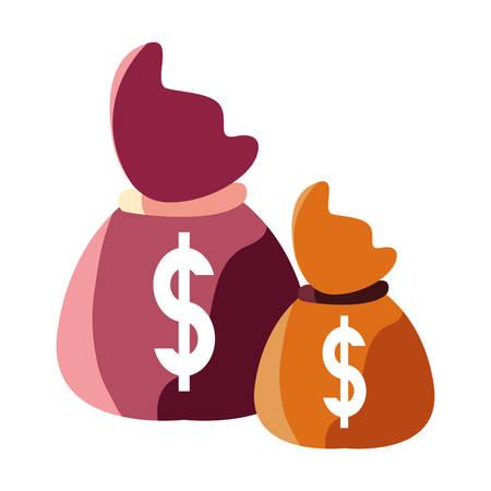 money bag dollar currency savings vector illustration Çizim