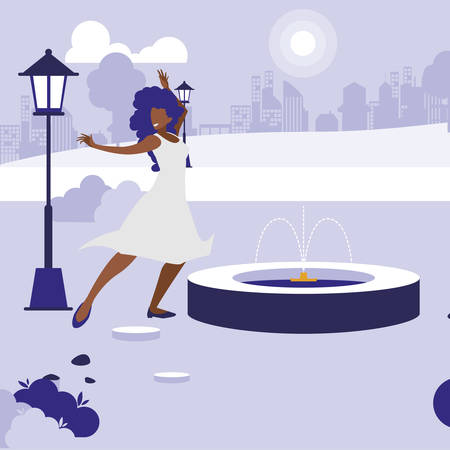 young black woman dancing in the park character vector illustration design Banque d'images - 129931160