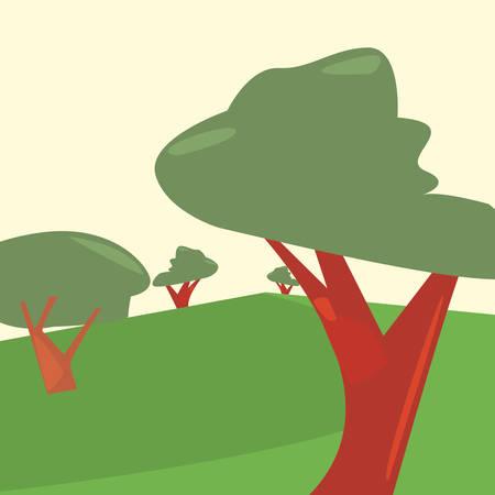 landscape forest trees botanical natural vector illustration Çizim