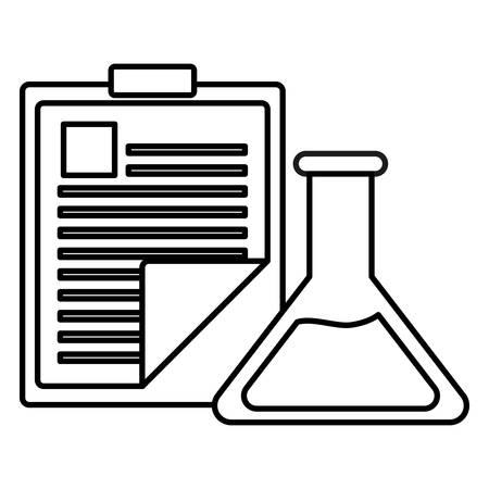 medical order checklist with flask test vector illustration design Иллюстрация