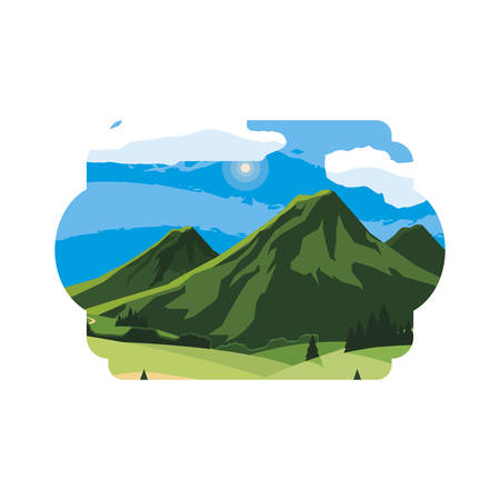 mountains green landscape scene vector illustration design