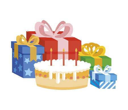 gift box present with sweet cake vector illustration design