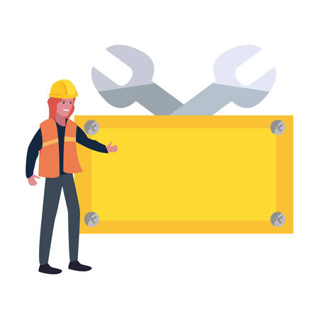 woman builder wrench board tools labour day vector illustration