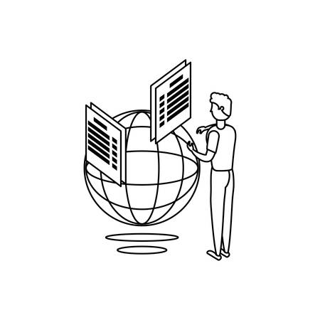 businessman worker with sphere browser and documents vector illustration design  イラスト・ベクター素材
